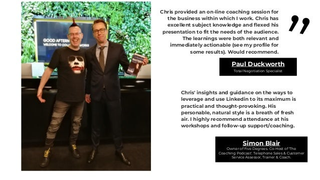 """"""" Chris came strongly recommended by one of my team members and after meeting Chris, I do agree that he is a LinkedIn soci..."""