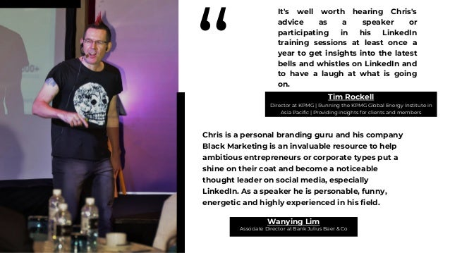 """"""" Chris is an excellently networked marketeer who make it his business to run a power profile in Singapore and the region,..."""
