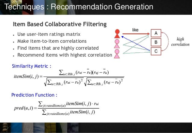 Techniques : Recommendation Generation Item Based Collaborative Filtering ● Use user-item ratings matrix ● Make item-to-it...