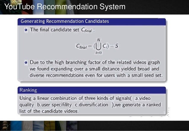 YouTube Recommendation System Generating Recommendation Candidates