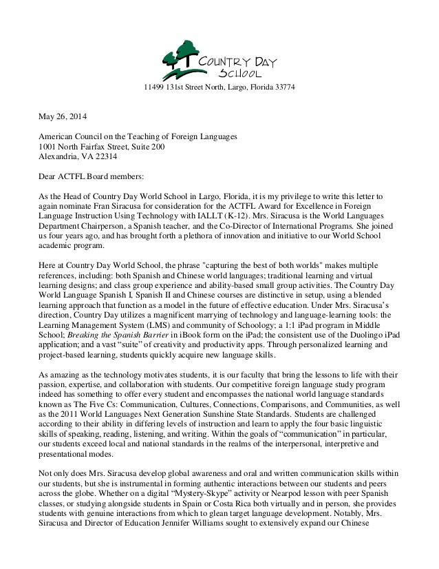 11499 131st Street North, Largo, Florida 33774 May 26, 2014 American Council on the Teaching of Foreign Languages 1001 Nor...