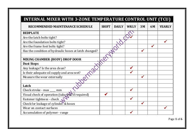 Recommended Maintenance Schedule for Internal Rubber Mixer