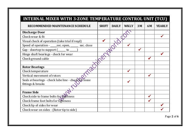 Page 2 of 6 INTERNAL MIXER WITH 3-ZONE TEMPERATURE CONTROL UNIT (TCU) RECOMMENDED MAINTENANCE SCHEDULE SHIFT DAILY WKLY 3M...