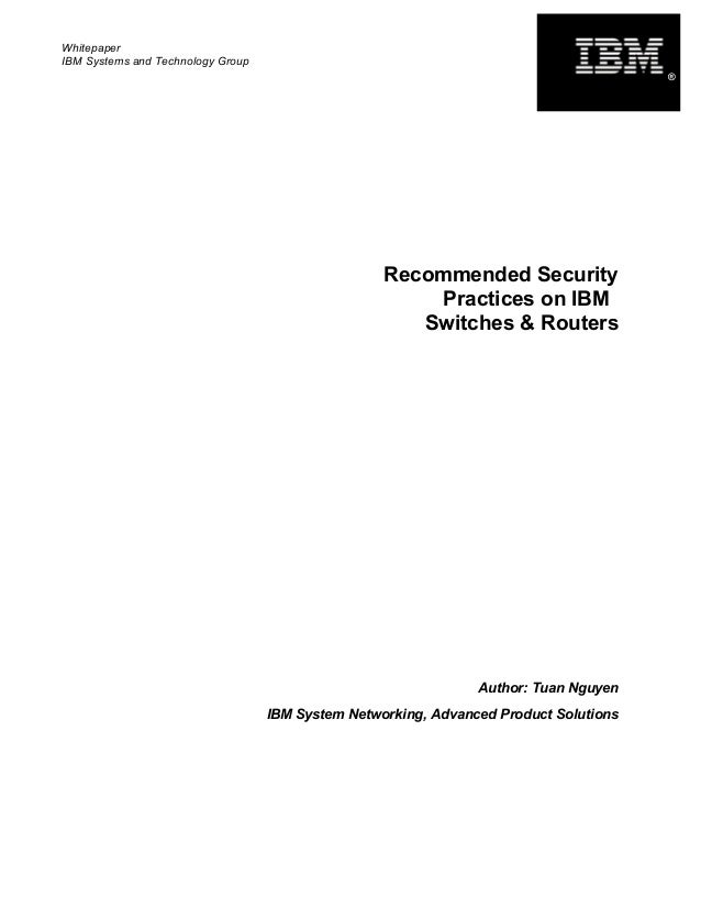 Recommended Security Practices on IBM Switches and Routers