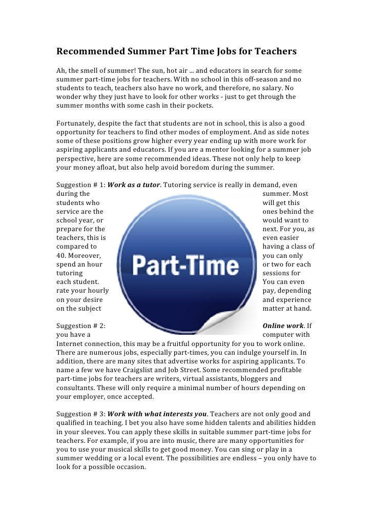 Parttime Jobs For Teenagers: Recommended Summer Part Time Jobs For Teachers