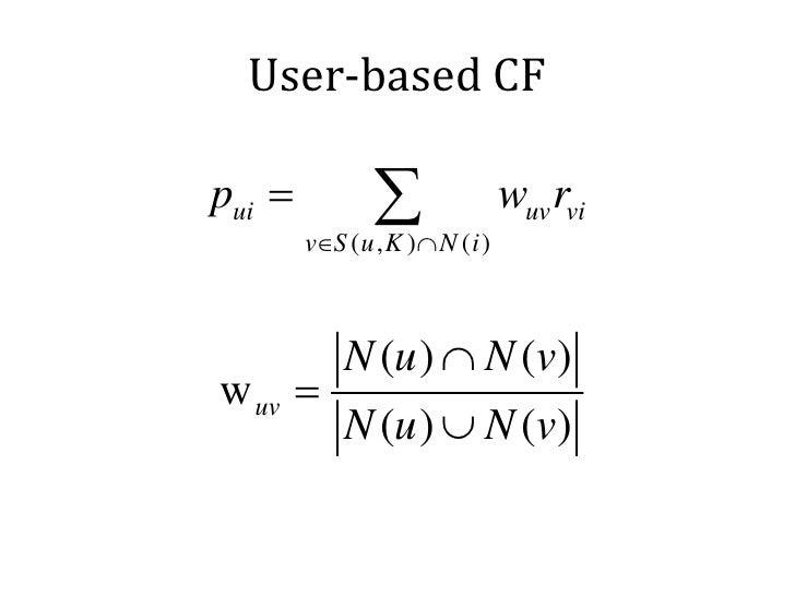 User-based CFpui =           ∑        v∈S ( u , K ) ∩ N ( i )                                  wuv rvi            N (u ) ∩...
