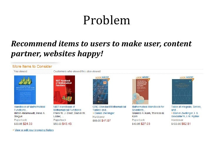 ProblemRecommend items to users to make user, contentpartner, websites happy!
