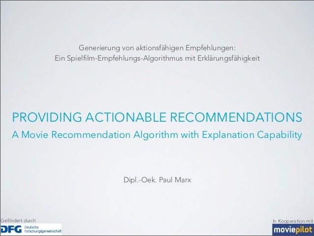 Generierung von aktionsfähigen Empfehlungen:                  Ein Spielfilm-Empfehlungs-Algorithmus mit Erklärungsfähigkei...