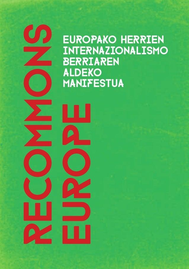 1 recommons europe Europako herrien internazionalismo berriaren aldeko manifestua
