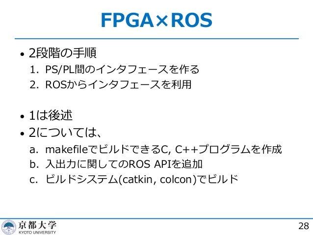 FPGA×ROS • 2段階の⼿順 1. PS/PL間のインタフェースを作る 2. ROSからインタフェースを利⽤ • 1は後述 • 2については、 a. makefileでビルドできるC, C++プログラムを作成 b. ⼊出⼒に関してのROS...