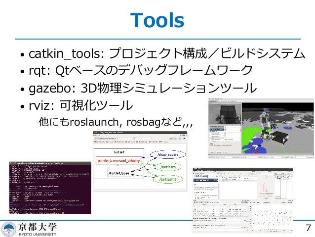 Tools • catkin_tools: プロジェクト構成/ビルドシステム • rqt: Qtベースのデバッグフレームワーク • gazebo: 3D物理シミュレーションツール • rviz: 可視化ツール  他にもroslaunch, r...