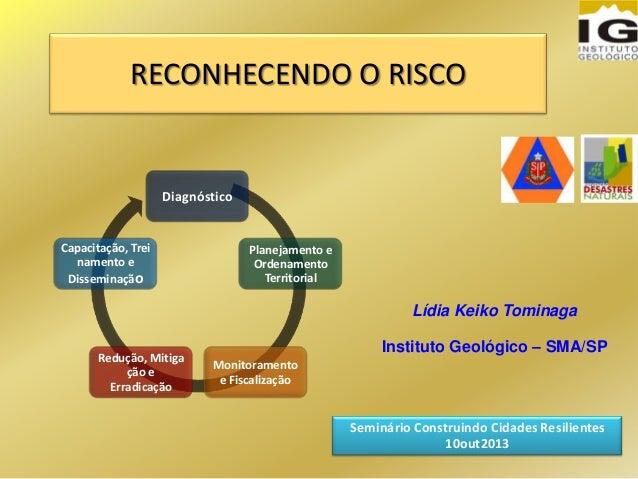 RECONHECENDO O RISCO Lídia Keiko Tominaga Instituto Geológico – SMA/SP Seminário Construindo Cidades Resilientes 10out2013...