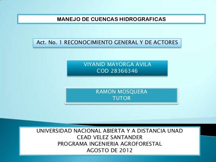 MANEJO DE CUENCAS HIDROGRAFICASAct. No. 1 RECONOCIMIENTO GENERAL Y DE ACTORES               VIYANID MAYORGA AVILA         ...