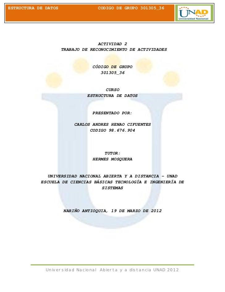 ESTRUCTURA DE DATOS                 CODIGO DE GRUPO 301305_36                                    ACTIVIDAD 2              ...