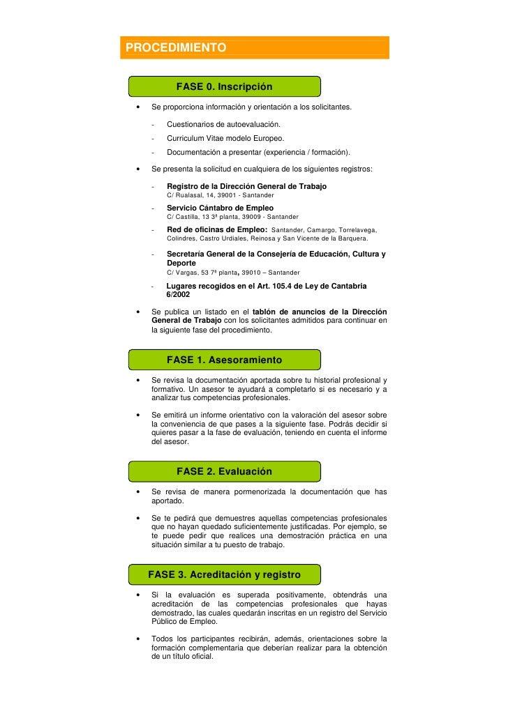 Reconocimiento competencias cantabria d ptico informativo for Oficina empleo cantabria