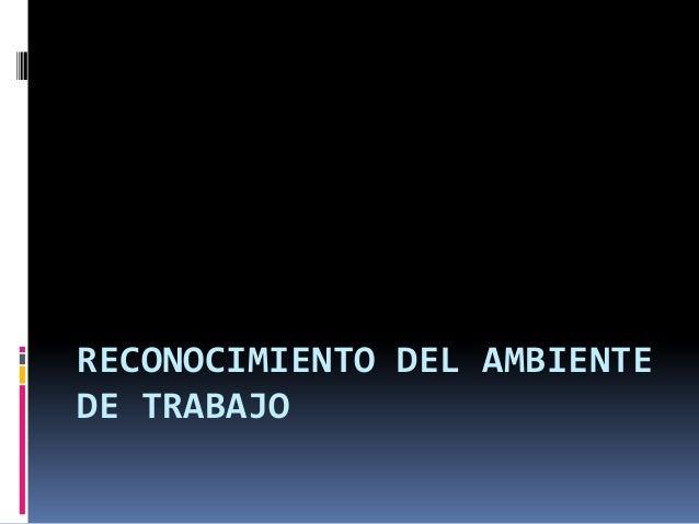 RECONOCIMIENTO DEL AMBIENTE DE TRABAJO