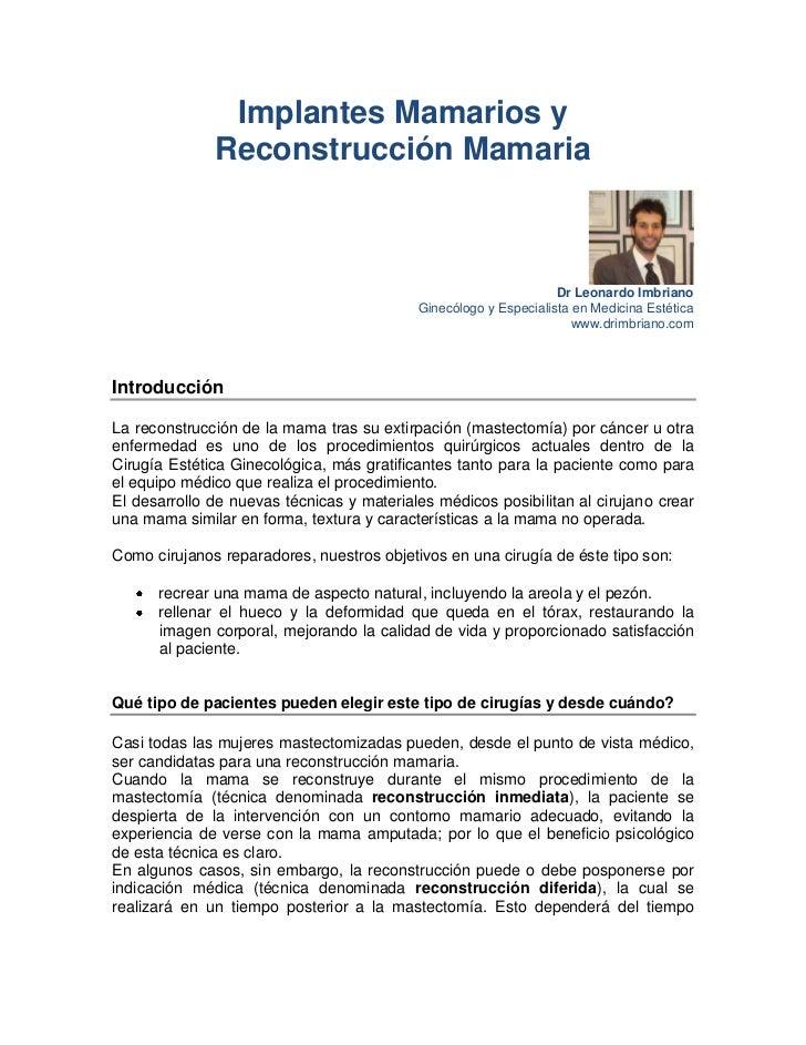 Implantes Mamarios y              Reconstrucción Mamaria                                                                  ...