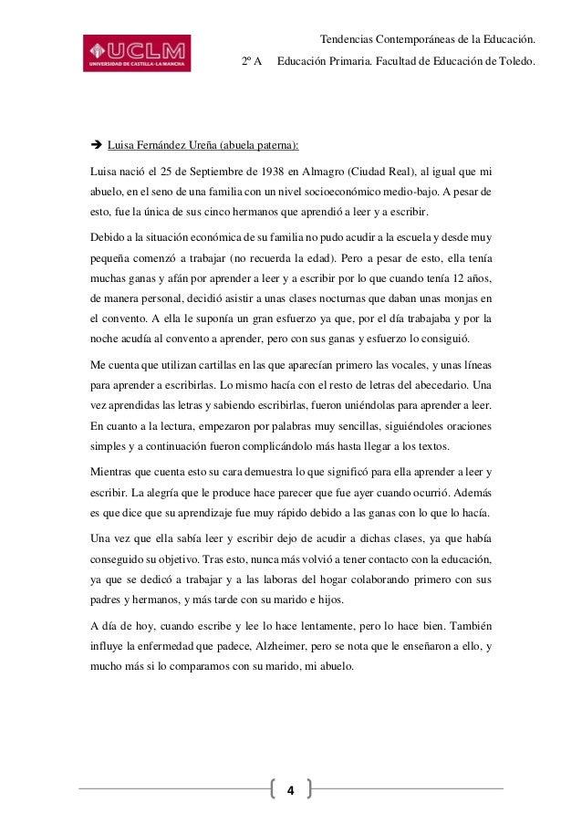 Tendencias Contemporáneas de la Educación. 2º A Educación Primaria. Facultad de Educación de Toledo. 4  Luisa Fernández U...