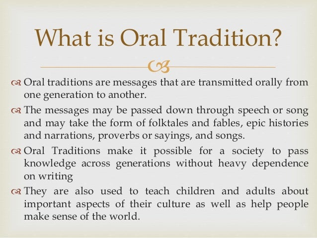 An Analysis of African Oral Traditions