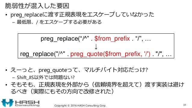 脆弱性が混入した要因 • preg_replaceに渡す正規表現をエスケープしていなかった – 最低限、/ をエスケープする必要がある • えーっと、preg_quoteって、マルチバイト対応だっけ? – Shift_JIS以外では問題ない? ...