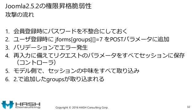 Joomla2.5.2の権限昇格脆弱性 攻撃の流れ 1. 会員登録時にパスワードを不整合にしておく 2. ユーザ登録時に jforms[groups][]=7 をPOSTパラメータに追加 3. バリデーションでエラー発生 4. 再入力に備えてリ...