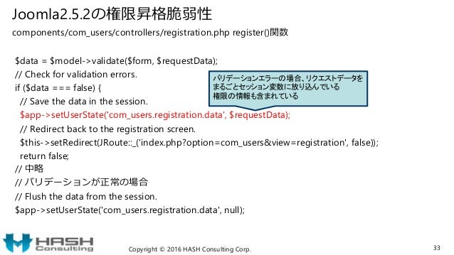 Joomla2.5.2の権限昇格脆弱性 components/com_users/controllers/registration.php register()関数 $data = $model->validate($form, $reques...