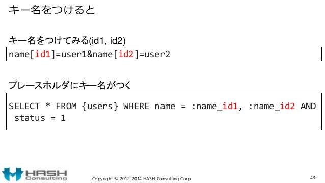 キー名をつけると Copyright © 2012-2014 HASH Consulting Corp. 43 name[id1]=user1&name[id2]=user2 SELECT * FROM {users} WHERE name =...