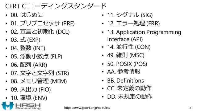CERT C コーディングスタンダード • 00. はじめに • 01. プリプロセッサ (PRE) • 02. 宣言と初期化 (DCL) • 03. 式 (EXP) • 04. 整数 (INT) • 05. 浮動小数点 (FLP) • 06....