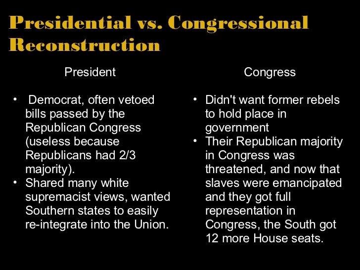 essays on congressional reconstruction You just finished post-civil war reconstruction in the south nice work more apush sample essays the '50s and '60s: decades of prosperity and protest (dbq.