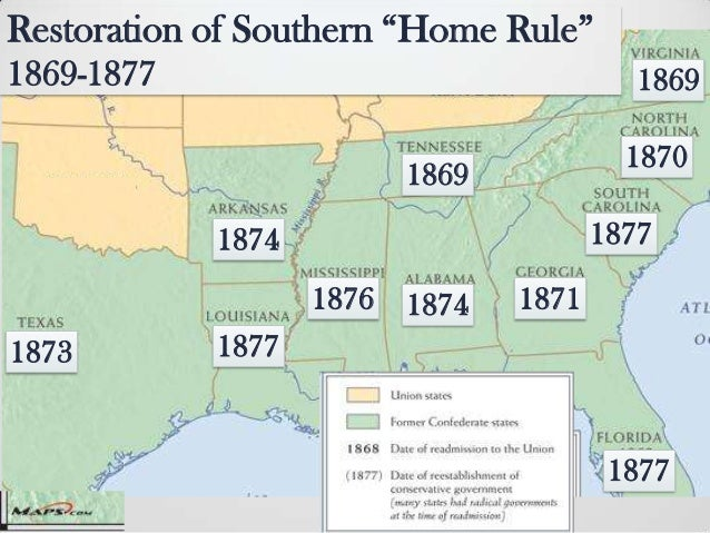 Reconstruction In The South US History - Us map in reconstruction
