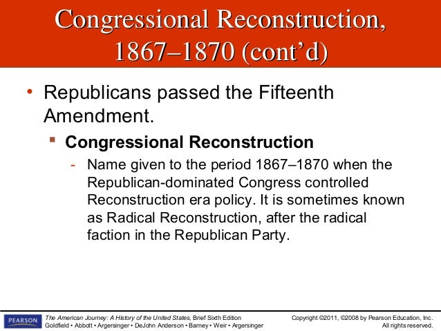 critical period and the reconstruction era Reconstruction of the south following the american civil war lasted from 1865-1877 under three reconstruction-era presidents reconstruction period:.