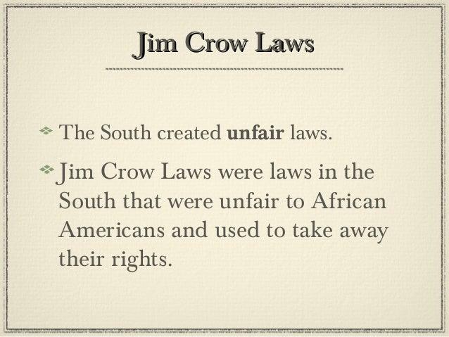 Reconstruction unit lesson 4 - jim crow laws - power point