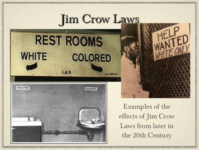 the effects of the jim crow laws on the lives of americans from the north and the south Articles that regulated and restricted the lives of african americans  carolina and its effects on daily life in south  and jim crow laws.
