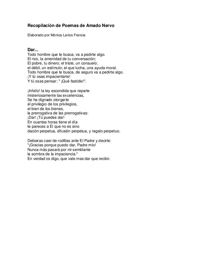 Recopilación De Poemas De Amado Nervo