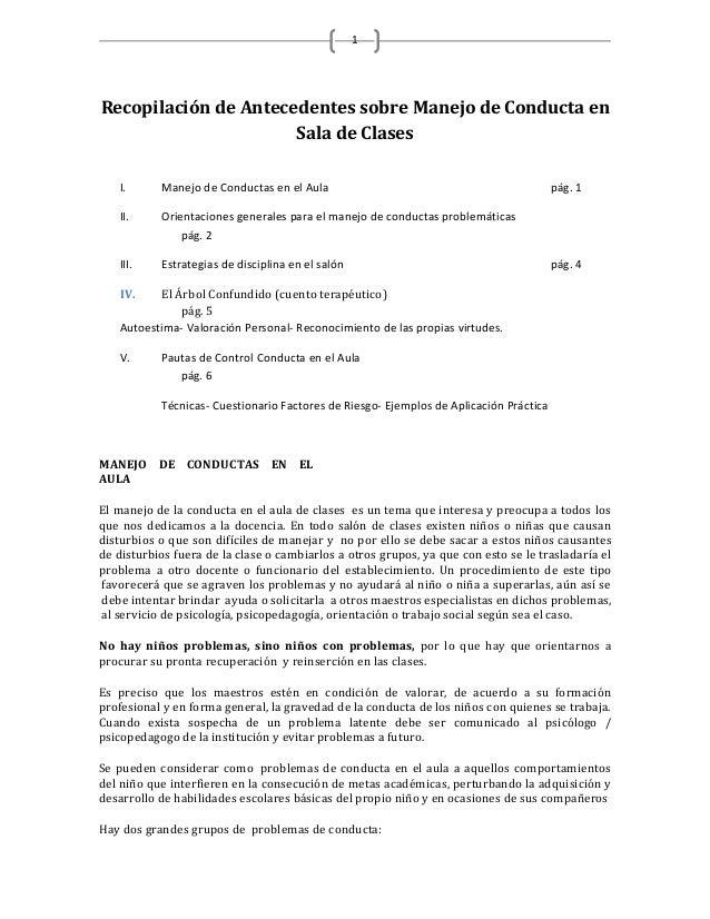 1Recopilación de Antecedentes sobre Manejo de Conducta en                      Sala de Clases   I.      Manejo de Conducta...