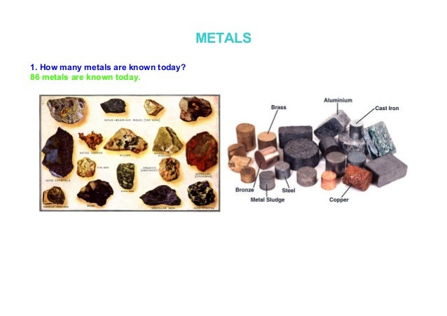 METALS1. How many metals are known today?86 metals are known today.