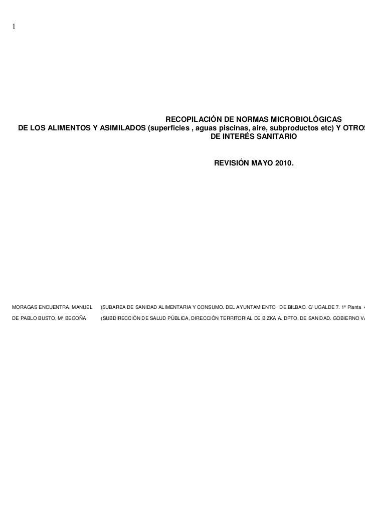 1                                      RECOPILACIÓN DE NORMAS MICROBIOLÓGICAS    DE LOS ALIMENTOS Y ASIMILADOS (superficie...