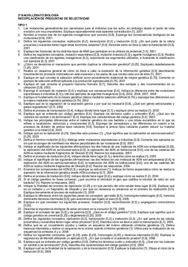 2º BACHILLERATO BIOLOGÍARECOPILACIÓN DE PREGUNTAS DE SELECTIVIDADTIPO 11. Las mutaciones generalmente son perniciosas para...