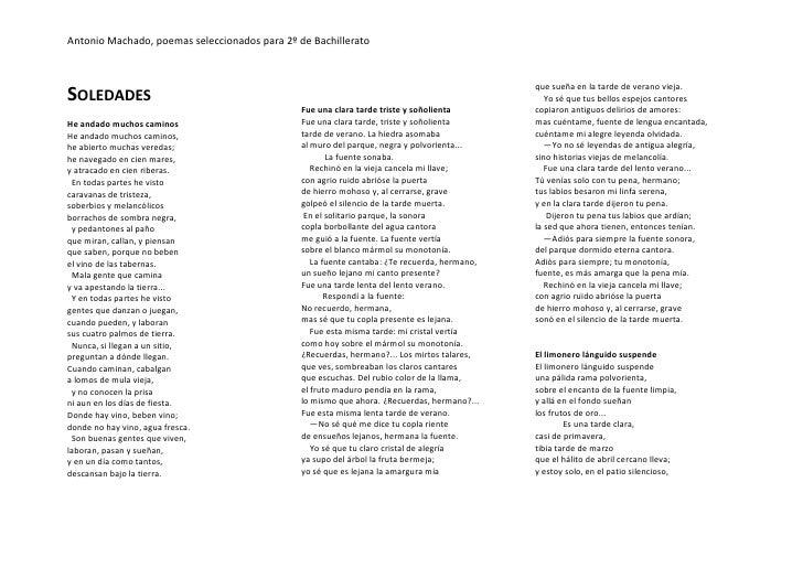 Antonio Machado, poemas seleccionados para 2º de Bachillerato    SOLEDADES                                                ...