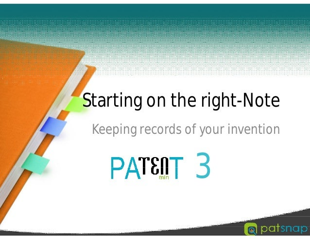 Starting on the right-Note Keeping records of your invention 3
