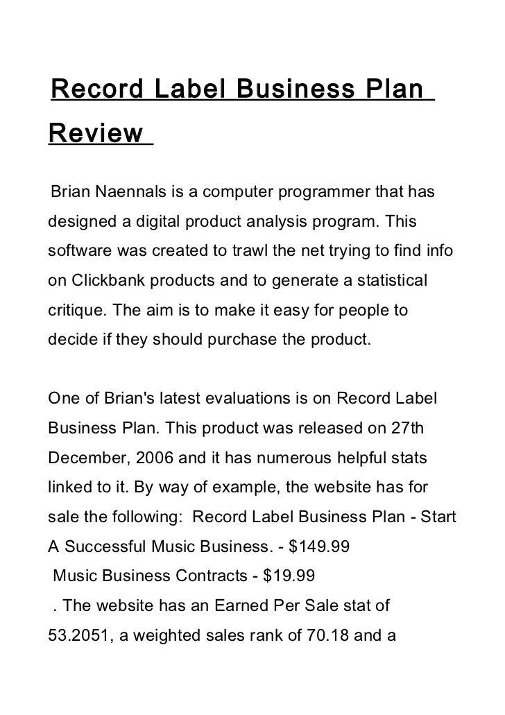independent musician business plan pdf