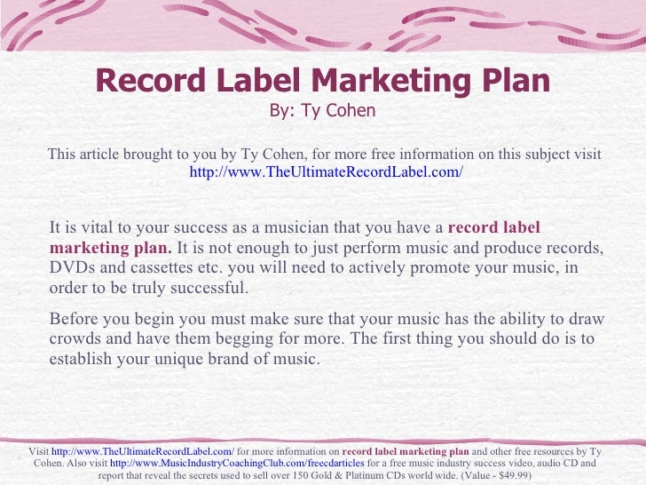 Indie Record Label Business Plan Sample