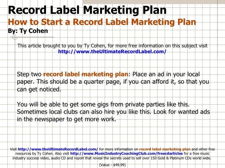 7th record label business plan marketing essay