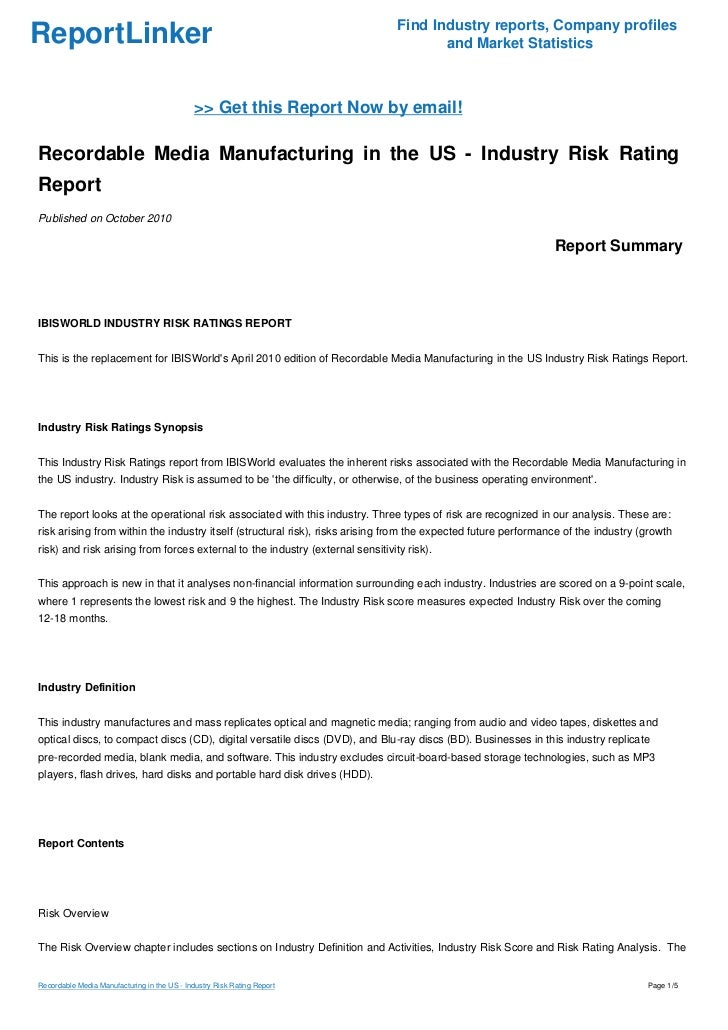 industry risk rating report As of may 17, 2012, this guidance applies to federal savings associations in addition to national banks comptroller's handbook 1 rating credit risk.