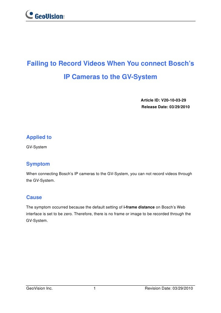 Failing to Record Videos When You connect Bosch's                     IP Cameras to the GV-System                         ...