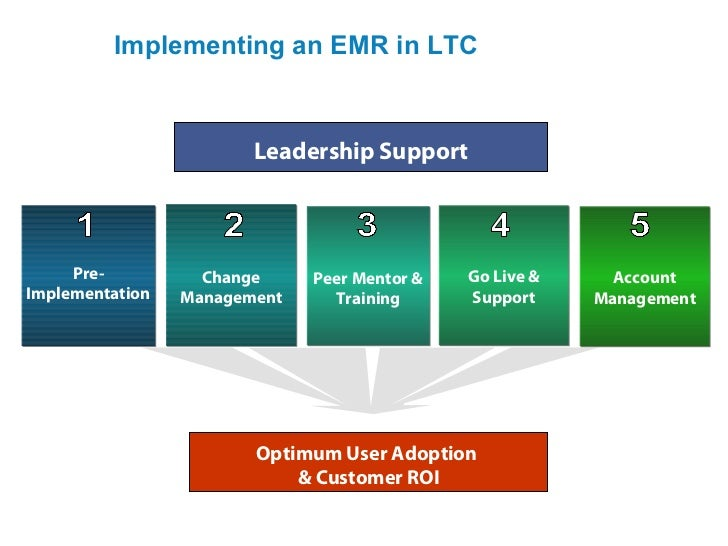 Implementing an EMR in LTC                        Leadership Support     Pre-          Change     Peer Mentor &   Go Live ...