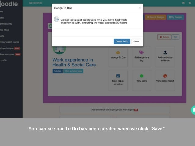 """You can see our To Do has been created when we click """"Save"""""""