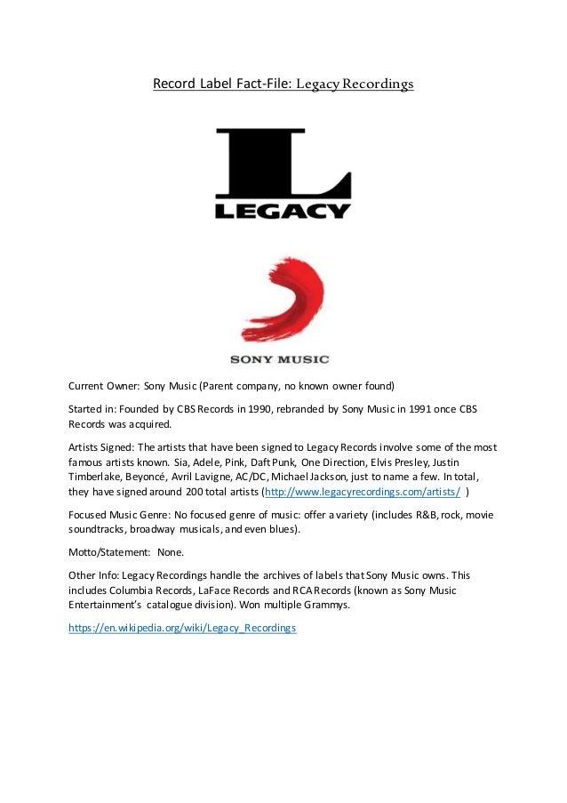 Record label factfile - legacy recordings edit