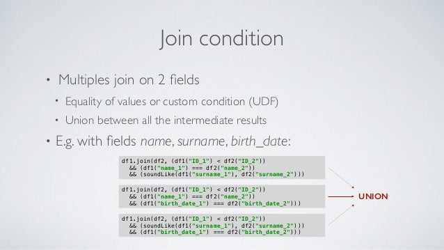 Join condition • Multiples join on 2 fields • Equality of values or custom condition (UDF) • Union between all the intermed...