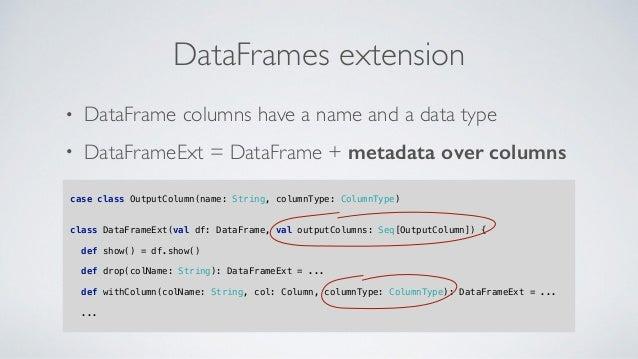 • DataFrame columns have a name and a data type • DataFrameExt = DataFrame + metadata over columns DataFrames extension ca...